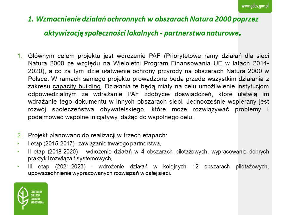 1. Wzmocnienie działań ochronnych w obszarach Natura 2000 poprzez aktywizację społeczności lokalnych - partnerstwa naturowe. 1.Głównym celem projektu