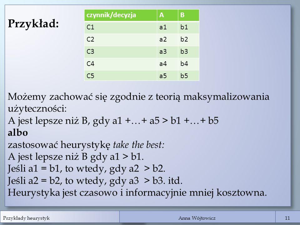 Przykłady heurystyk Anna Wójtowicz 11 Przykład: Możemy zachować się zgodnie z teorią maksymalizowania użyteczności: A jest lepsze niż B, gdy a1 +…+ a5