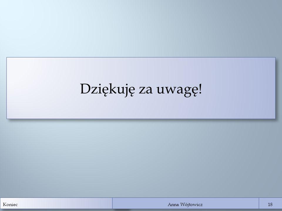 Koniec Anna Wójtowicz 18 Dziękuję za uwagę!