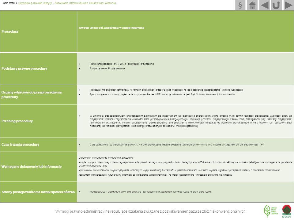 Procedura Zawarcie umowy dot. zaopatrzenia w energię elektryczną Podstawy prawne procedury  Prawo Energetyczne, art. 7 ust. 1 - obowiązek przyłączeni