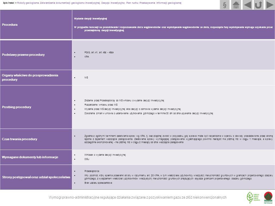 Procedura Wydanie decyzji inwestycyjnej W przypadku koncesji na poszukiwanie i rozpoznawanie złoża węglowodorów oraz wydobywanie węglowodorów ze złoża