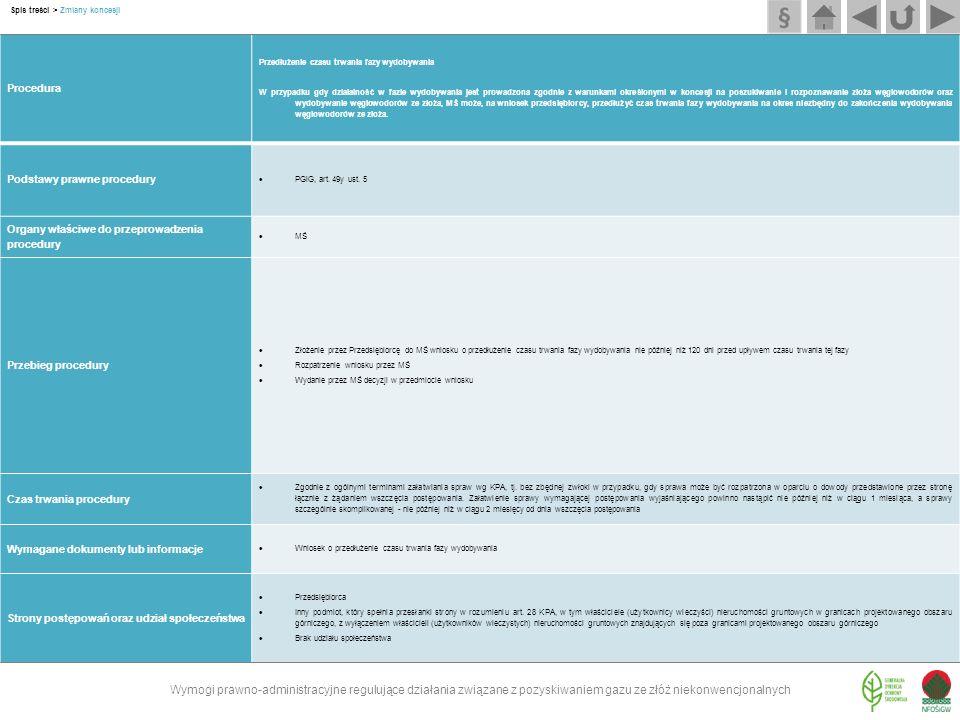 Procedura Przedłużenie czasu trwania fazy wydobywania W przypadku gdy działalność w fazie wydobywania jest prowadzona zgodnie z warunkami określonymi