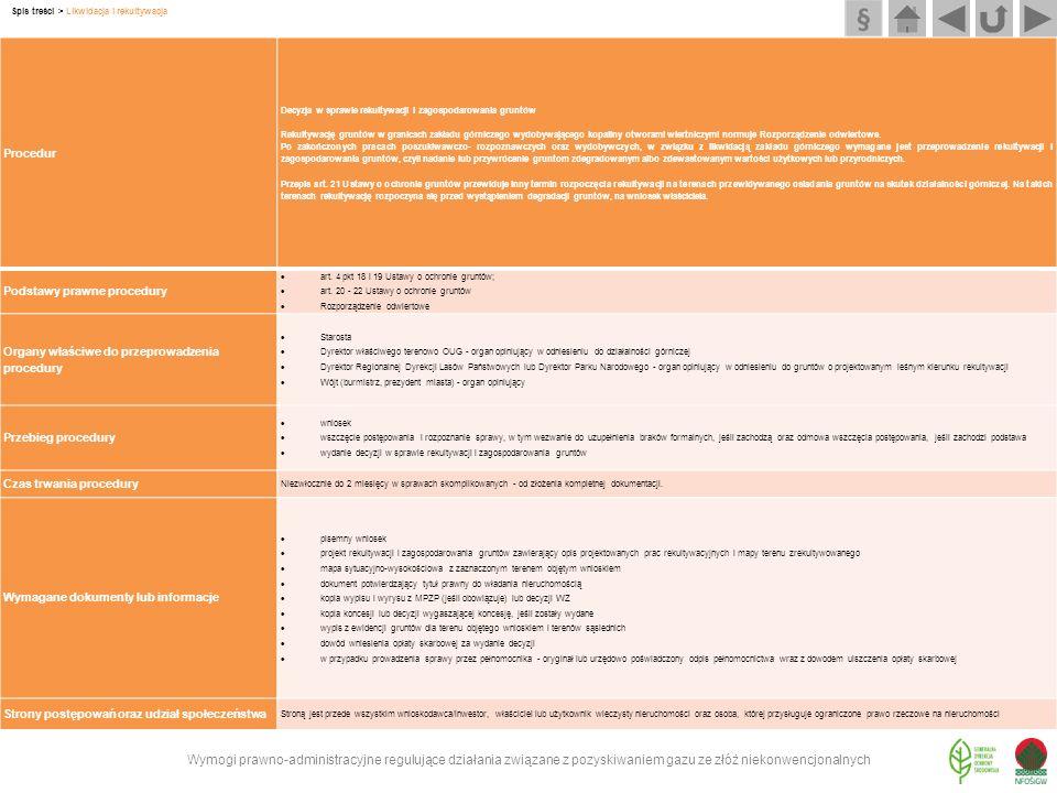 Wymogi prawno-administracyjne regulujące działania związane z pozyskiwaniem gazu ze złóż niekonwencjonalnych Spis treści > Likwidacja i rekultywacja P