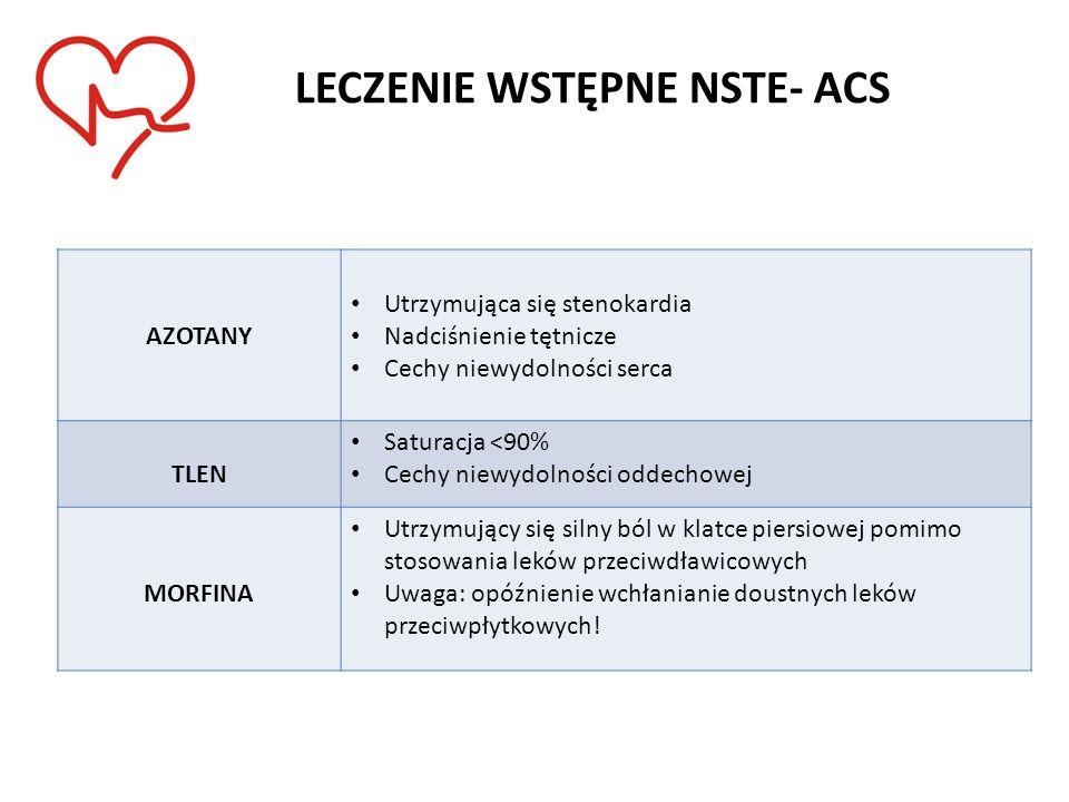 LECZENIE WSTĘPNE NSTE- ACS AZOTANY Utrzymująca się stenokardia Nadciśnienie tętnicze Cechy niewydolności serca TLEN Saturacja <90% Cechy niewydolności