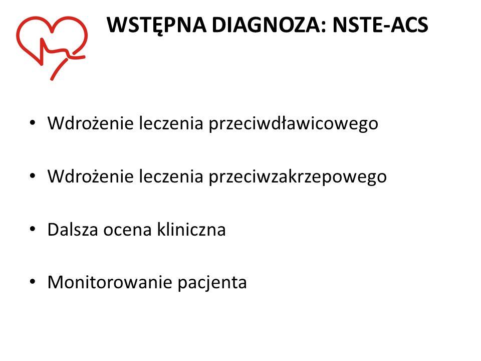 WSTĘPNA DIAGNOZA: NSTE-ACS Wdrożenie leczenia przeciwdławicowego Wdrożenie leczenia przeciwzakrzepowego Dalsza ocena kliniczna Monitorowanie pacjenta