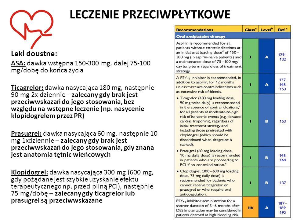 LECZENIE PRZECIWPŁYTKOWE Leki doustne: ASA: dawka wstępna 150-300 mg, dalej 75-100 mg/dobę do końca życia Ticagrelor: dawka nasycająca 180 mg, następn