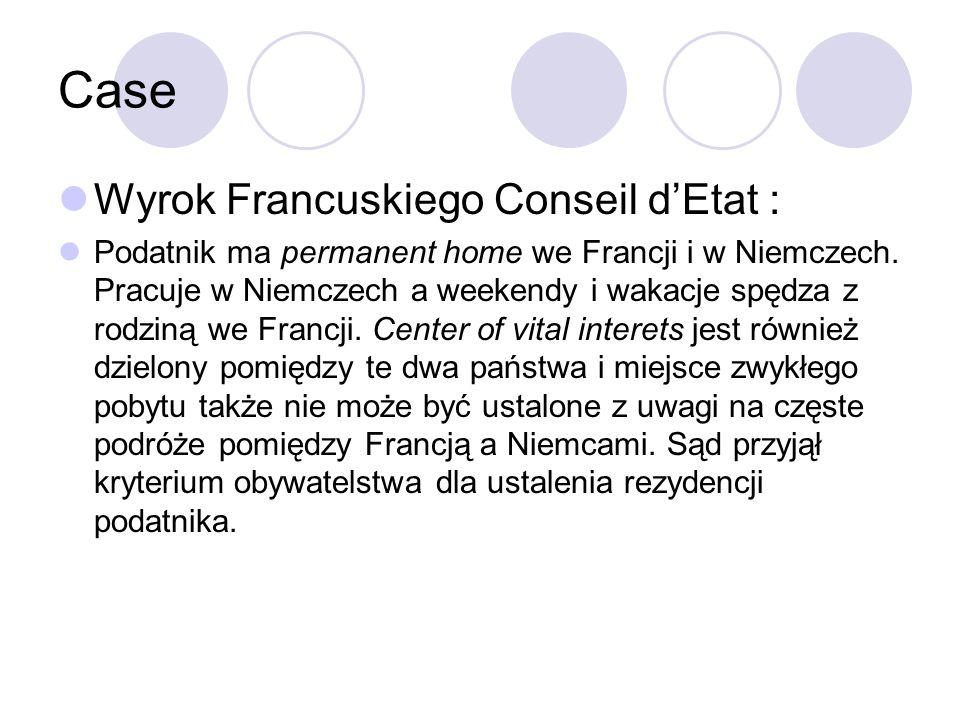 Case Wyrok Francuskiego Conseil d'Etat : Podatnik ma permanent home we Francji i w Niemczech.