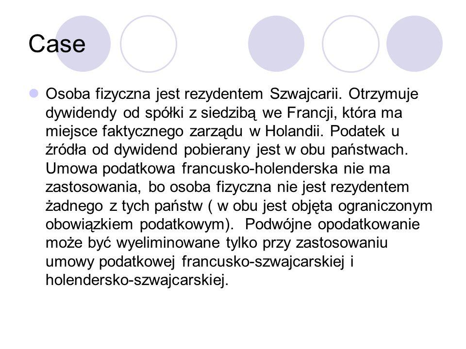 Case Osoba fizyczna jest rezydentem Szwajcarii.