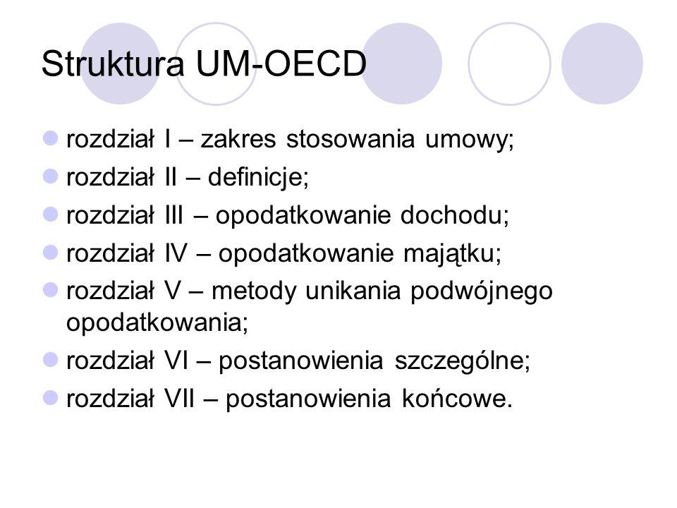 Struktura UM-OECD rozdział I – zakres stosowania umowy; rozdział II – definicje; rozdział III – opodatkowanie dochodu; rozdział IV – opodatkowanie majątku; rozdział V – metody unikania podwójnego opodatkowania; rozdział VI – postanowienia szczególne; rozdział VII – postanowienia końcowe.