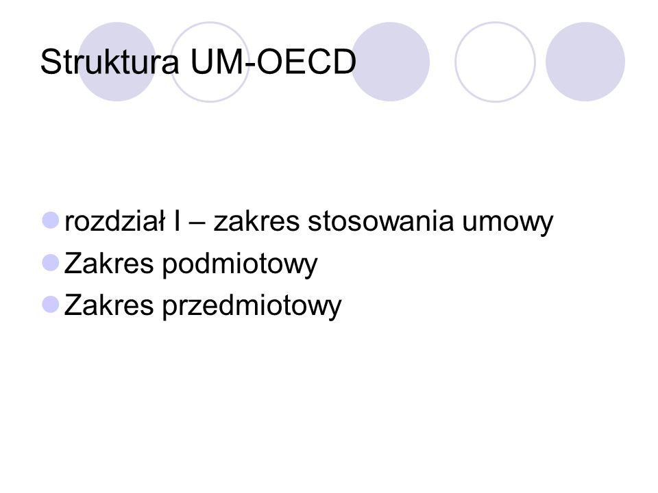 Struktura UM-OECD rozdział I – zakres stosowania umowy Zakres podmiotowy Zakres przedmiotowy