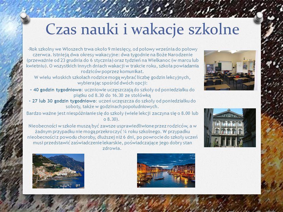 Czas nauki i wakacje szkolne -Rok szkolny we Włoszech trwa około 9 miesięcy, od połowy września do połowy czerwca. Istnieją dwa okresy wakacyjne: dwa