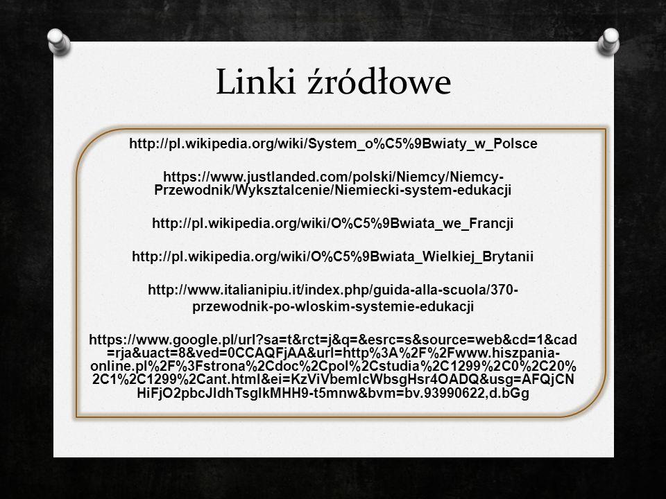 Linki źródłowe http://pl.wikipedia.org/wiki/System_o%C5%9Bwiaty_w_Polsce https://www.justlanded.com/polski/Niemcy/Niemcy- Przewodnik/Wyksztalcenie/Nie