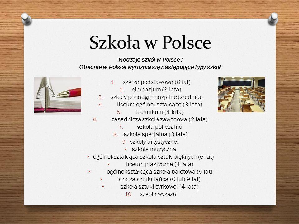Szkoła w Polsce Rodzaje szkół w Polsce : Obecnie w Polsce wyróżnia się następujące typy szkół: 1. szkoła podstawowa (6 lat) 2. gimnazjum (3 lata) 3. s