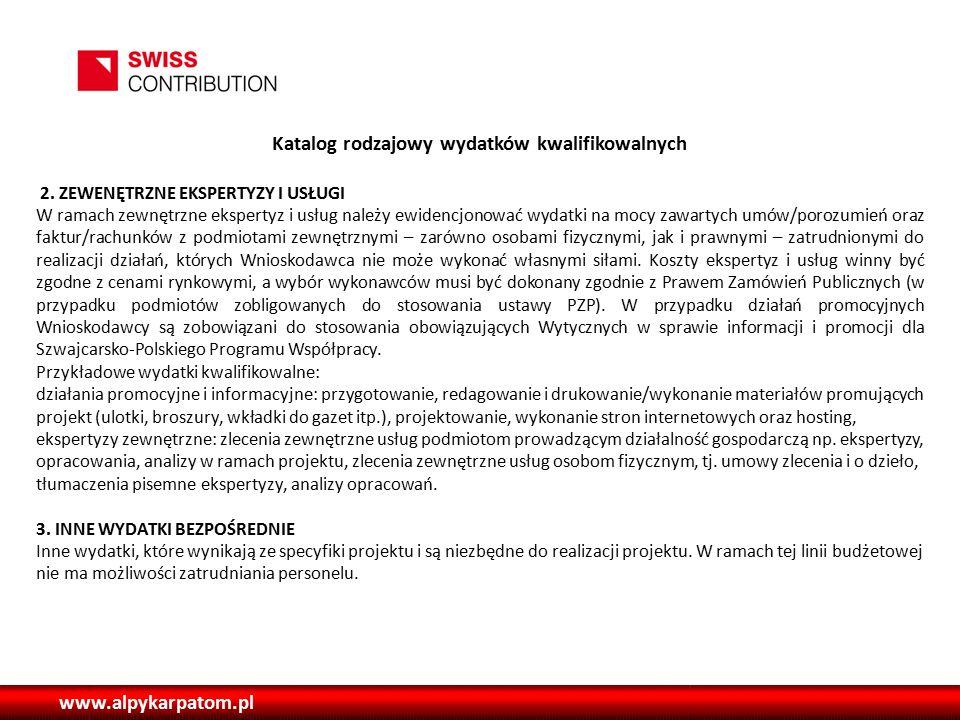 www.alpykarpatom.pl Katalog rodzajowy wydatków kwalifikowalnych 2.