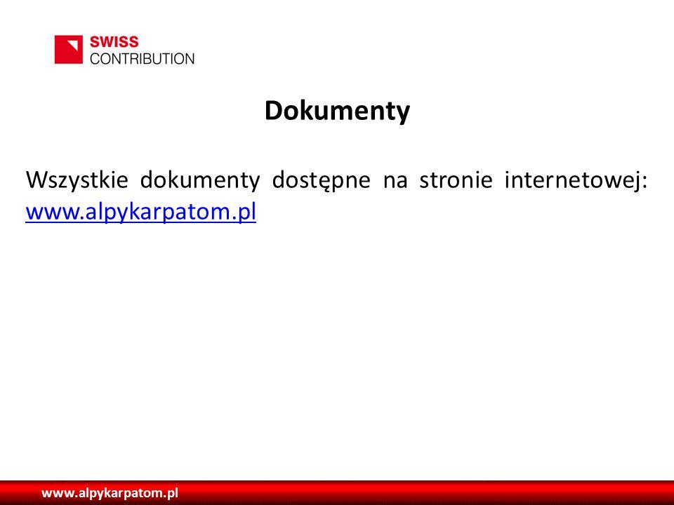 www.alpykarpatom.pl Dokumenty Wszystkie dokumenty dostępne na stronie internetowej: www.alpykarpatom.pl www.alpykarpatom.pl