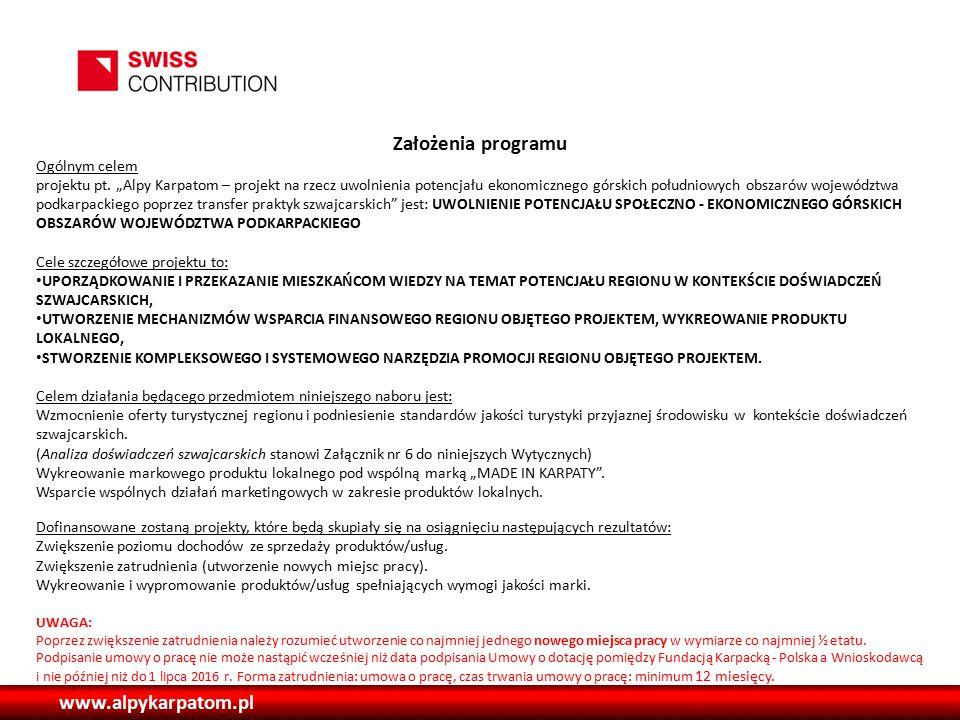 www.alpykarpatom.pl Założenia programu Ogólnym celem projektu pt.
