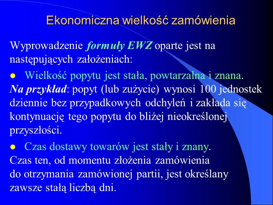 Ekonomiczna wielkość zamówienia Wyprowadzenie formuły EWZ oparte jest na następujących założeniach: l Wielkość popytu jest stała, powtarzalna i znana.