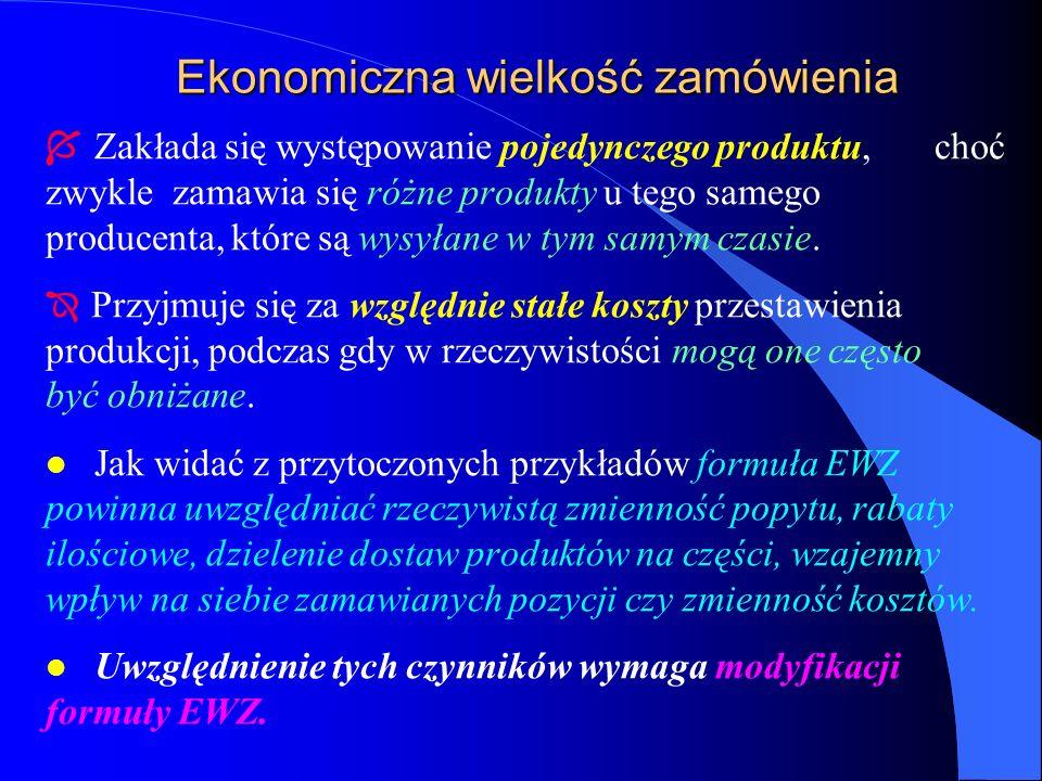 Ekonomiczna wielkość zamówienia Í Zakłada się występowanie pojedynczego produktu, choć zwykle zamawia się różne produkty u tego samego producenta, któ