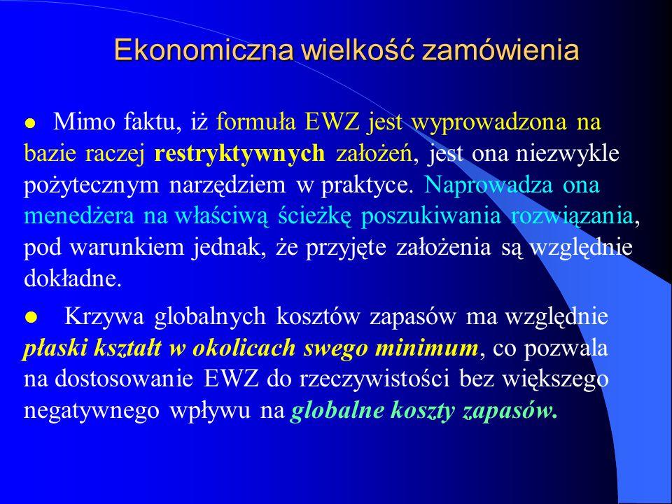 Ekonomiczna wielkość zamówienia l Mimo faktu, iż formuła EWZ jest wyprowadzona na bazie raczej restryktywnych założeń, jest ona niezwykle pożytecznym