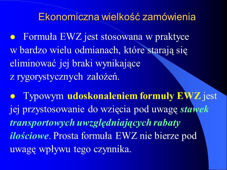 Ekonomiczna wielkość zamówienia l Formuła EWZ jest stosowana w praktyce w bardzo wielu odmianach, które starają się eliminować jej braki wynikające z
