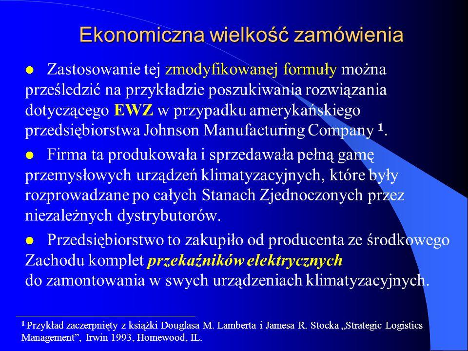 Ekonomiczna wielkość zamówienia l Zastosowanie tej zmodyfikowanej formuły można prześledzić na przykładzie poszukiwania rozwiązania dotyczącego EWZ w