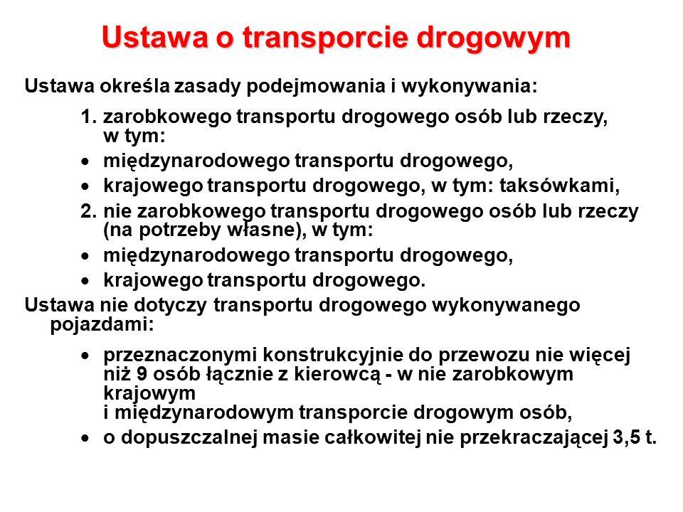 Ustawa o transporcie drogowym Ustawa określa zasady podejmowania i wykonywania: 1.zarobkowego transportu drogowego osób lub rzeczy, w tym:  międzynarodowego transportu drogowego,  krajowego transportu drogowego, w tym: taksówkami, 2.nie zarobkowego transportu drogowego osób lub rzeczy (na potrzeby własne), w tym:  międzynarodowego transportu drogowego,  krajowego transportu drogowego.