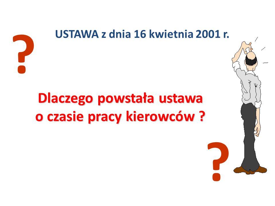USTAWA z dnia 16 kwietnia 2001 r. Dlaczego powstała ustawa o czasie pracy kierowców ? ? ?