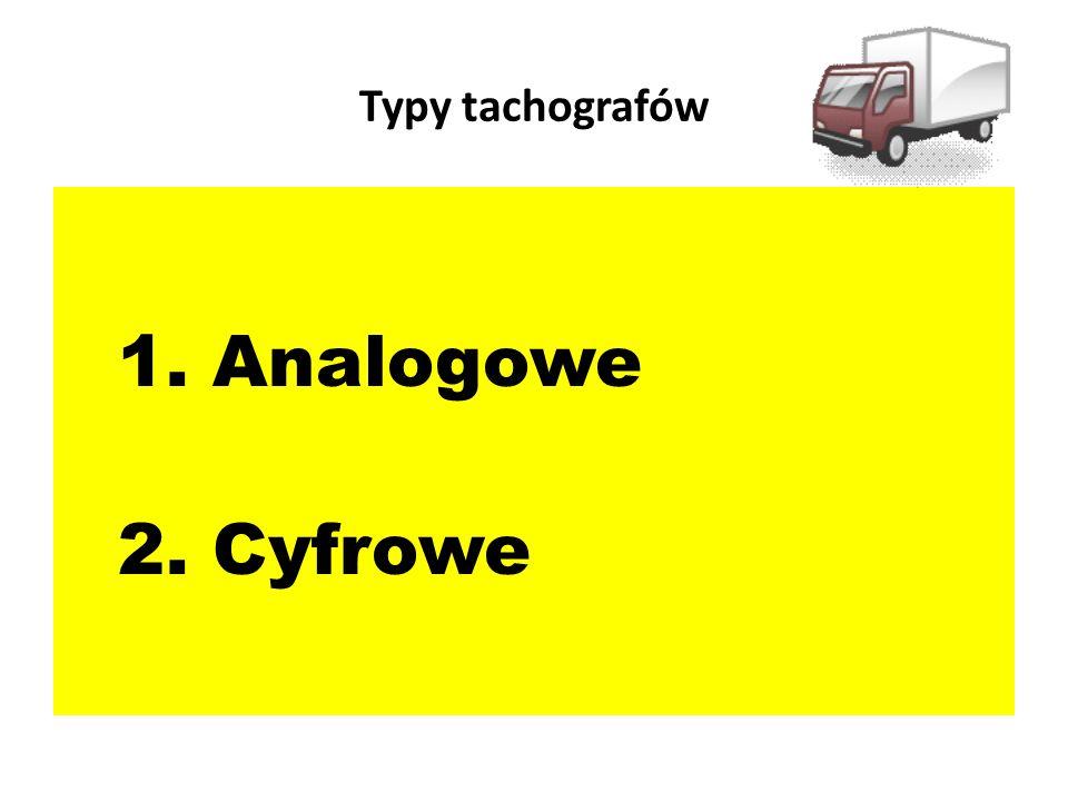 Typy tachografów 1. Analogowe 2. Cyfrowe