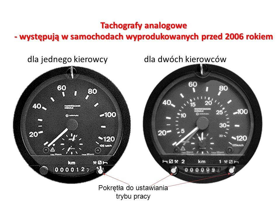Pokrętła do ustawiania trybu pracy Tachografy analogowe - występują w samochodach wyprodukowanych przed 2006 rokiem dla jednego kierowcy dla dwóch kierowców