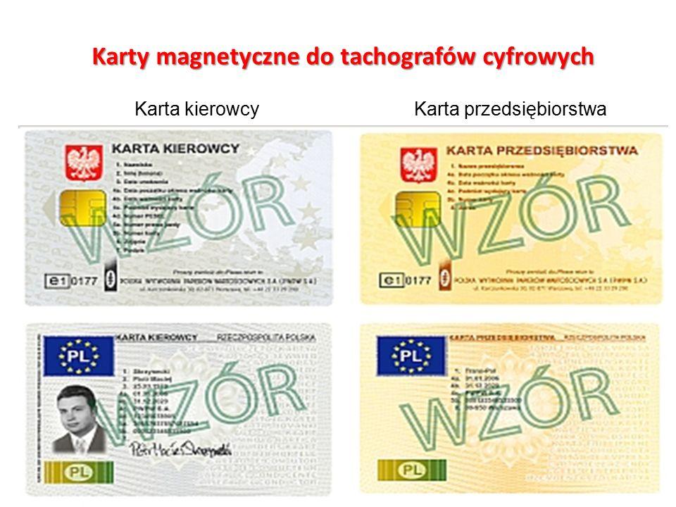 Karty magnetyczne do tachografów cyfrowych Karta kierowcyKarta przedsiębiorstwa