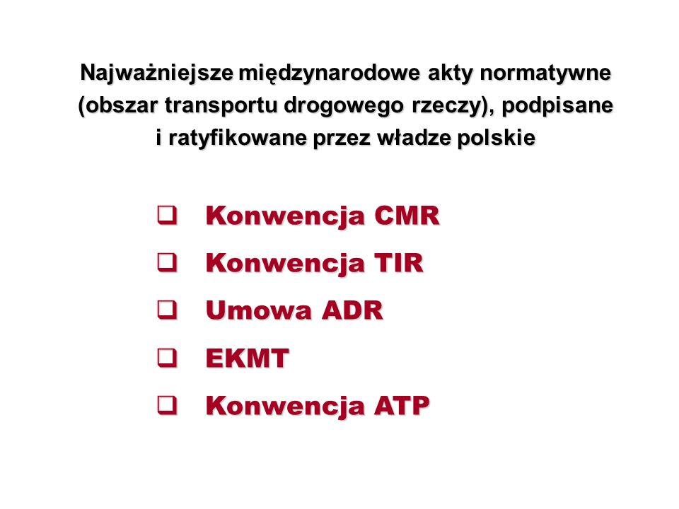 Najważniejsze międzynarodowe akty normatywne (obszar transportu drogowego rzeczy), podpisane i ratyfikowane przez władze polskie  Konwencja CMR  Konwencja TIR  Umowa ADR  EKMT  Konwencja ATP