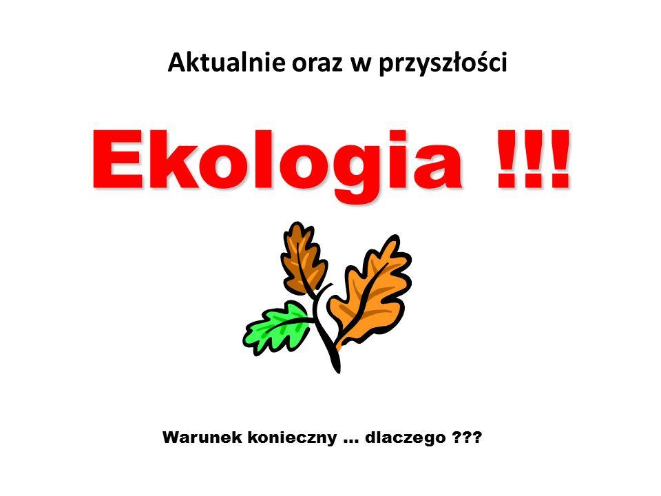Aktualnie oraz w przyszłości Ekologia !!! Warunek konieczny... dlaczego ???