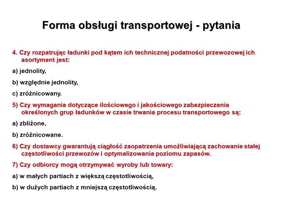 Forma obsługi transportowej - pytania 4.