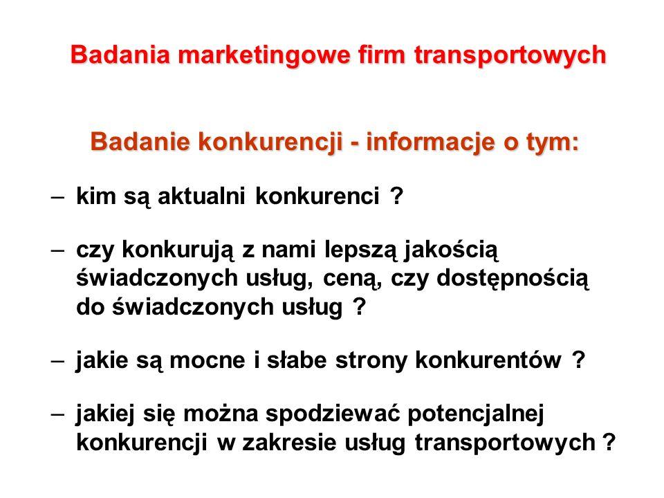 Badania marketingowe firm transportowych Badanie konkurencji - informacje o tym: –kim są aktualni konkurenci .