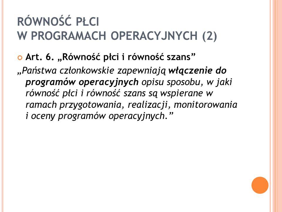 """RÓWNOŚĆ PŁCI W PROGRAMACH OPERACYJNYCH (2) Art. 6. """"Równość płci i równość szans"""" """"Państwa członkowskie zapewniają włączenie do programów operacyjnych"""