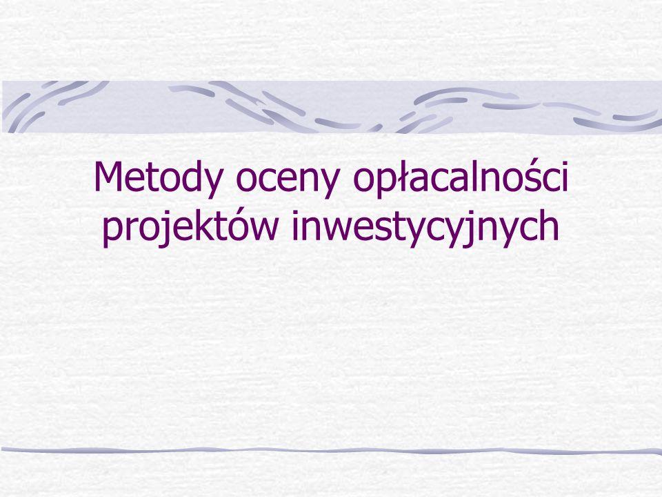 Metody oceny opłacalności projektów inwestycyjnych