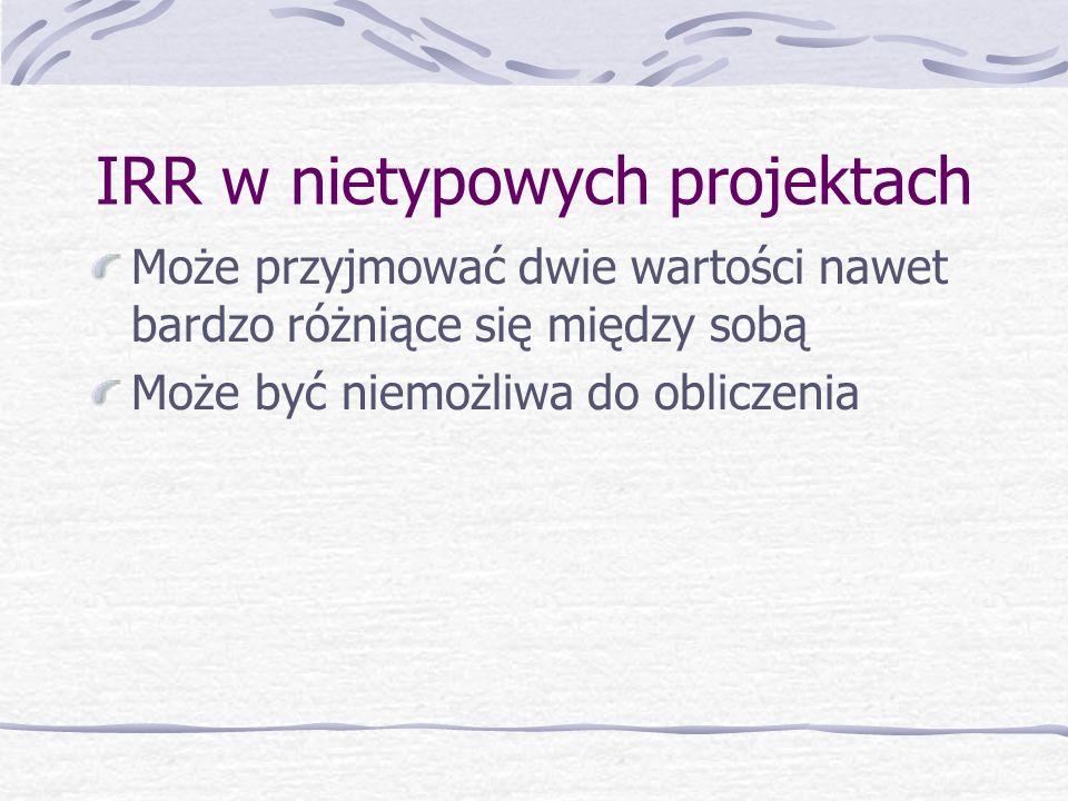 WEWNĘTRZNA STOPA ZWROTU Internal Rate of Return – IRR Definicja – taka wielkość stopy dyskontowej r, przy której NPV = 0 Im wyższa IRR tym większa opł