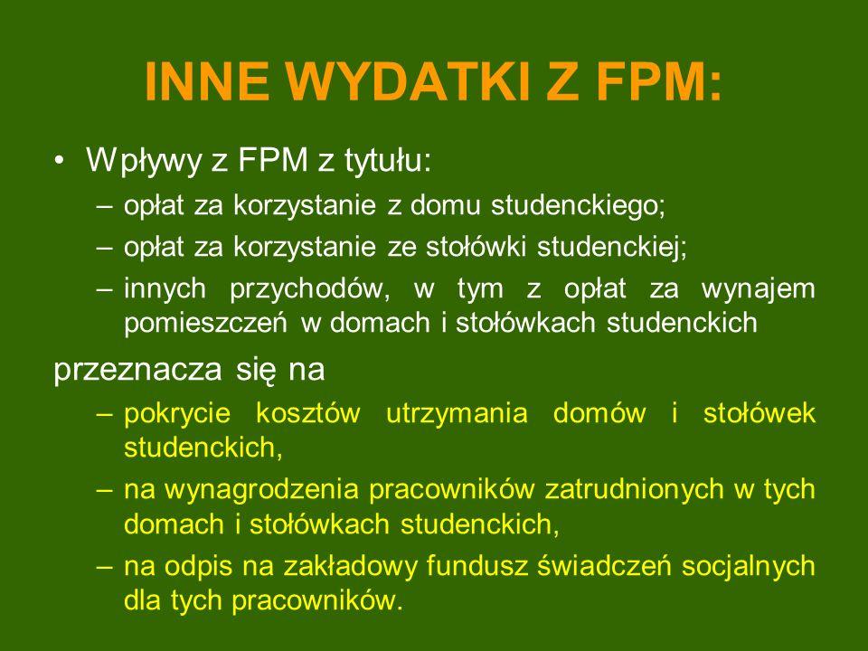 INNE WYDATKI Z FPM: Wpływy z FPM z tytułu: –opłat za korzystanie z domu studenckiego; –opłat za korzystanie ze stołówki studenckiej; –innych przychodó