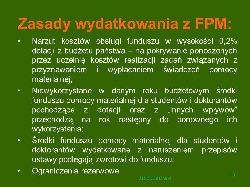 Zasady wydatkowania z FPM: Narzut kosztów obsługi funduszu w wysokości 0,2% dotacji z budżetu państwa – na pokrywanie ponoszonych przez uczelnię koszt