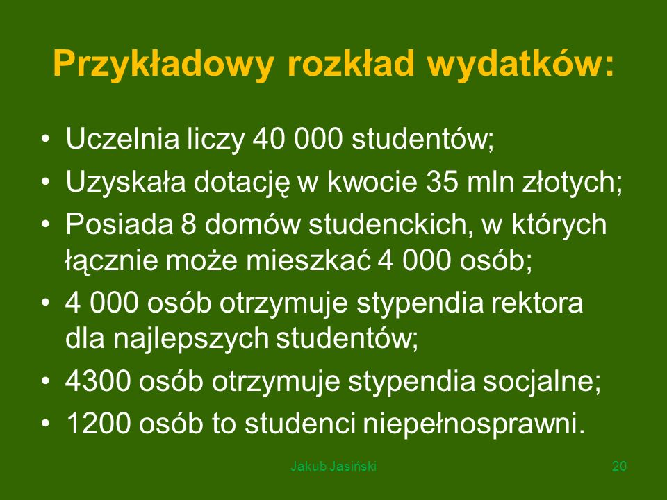 Przykładowy rozkład wydatków: Uczelnia liczy 40 000 studentów; Uzyskała dotację w kwocie 35 mln złotych; Posiada 8 domów studenckich, w których łączni