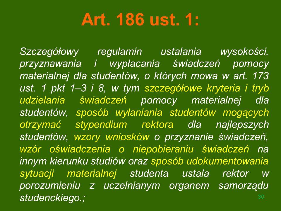Art. 186 ust. 1: Szczegółowy regulamin ustalania wysokości, przyznawania i wypłacania świadczeń pomocy materialnej dla studentów, o których mowa w art