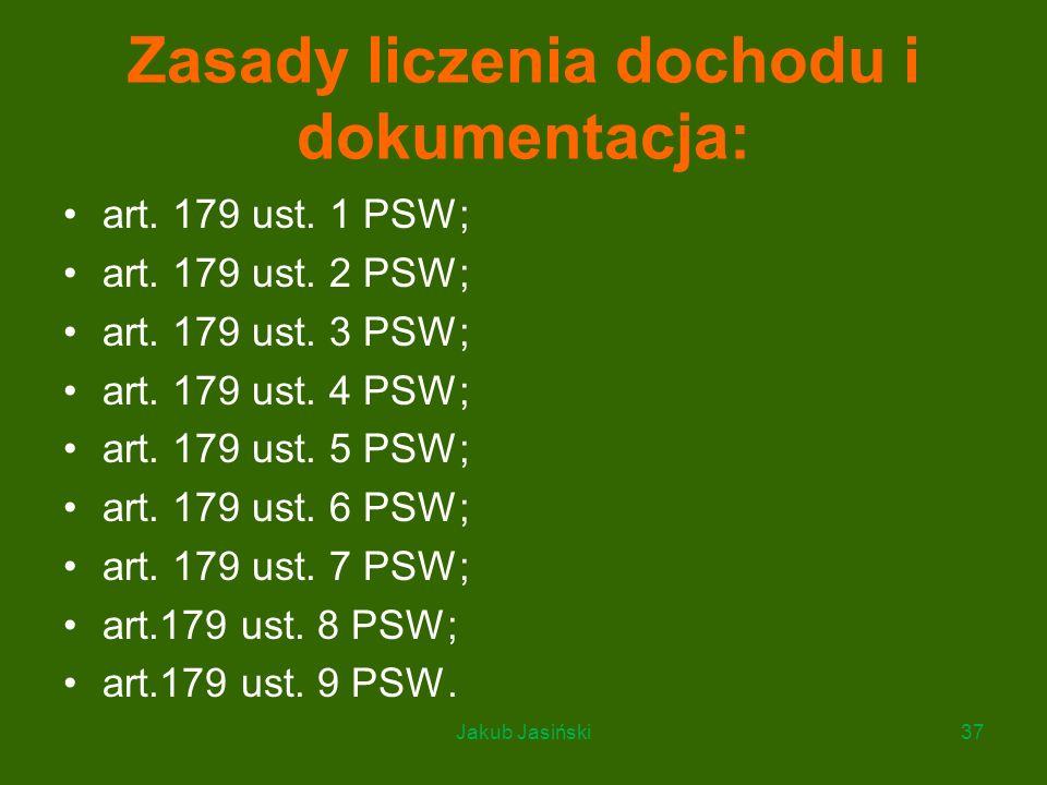Zasady liczenia dochodu i dokumentacja: art. 179 ust. 1 PSW; art. 179 ust. 2 PSW; art. 179 ust. 3 PSW; art. 179 ust. 4 PSW; art. 179 ust. 5 PSW; art.