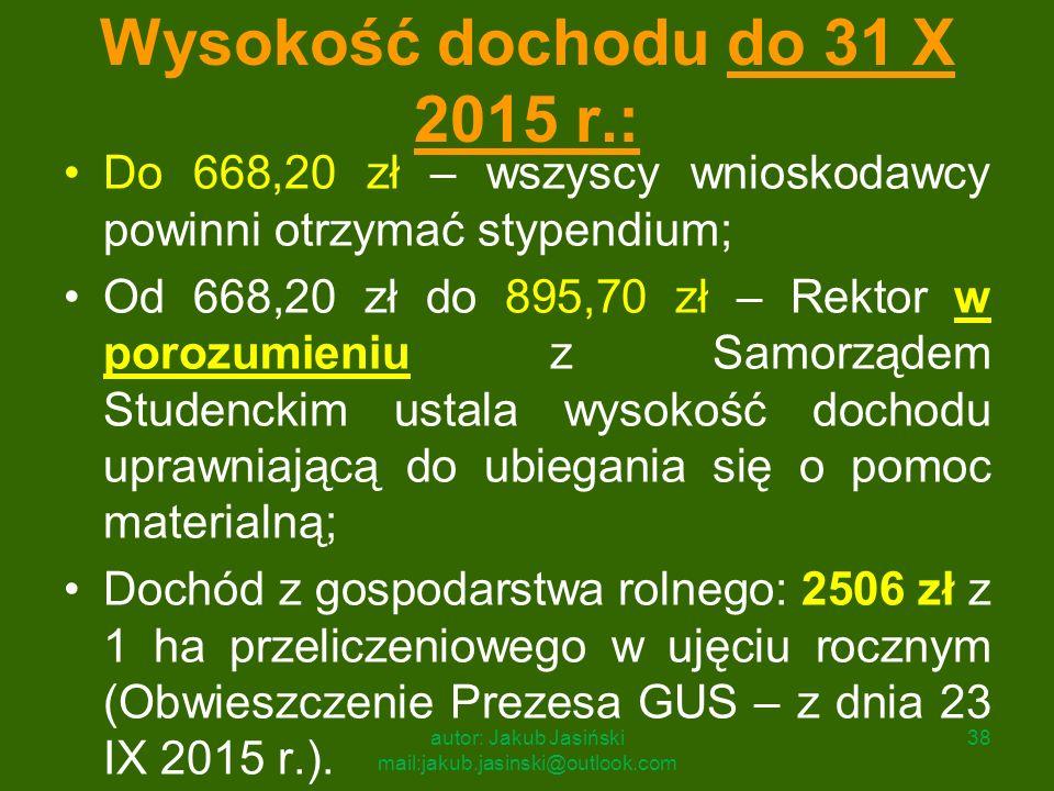 Wysokość dochodu do 31 X 2015 r.: Do 668,20 zł – wszyscy wnioskodawcy powinni otrzymać stypendium; Od 668,20 zł do 895,70 zł – Rektor w porozumieniu z