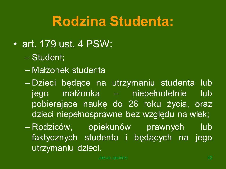 Rodzina Studenta: art. 179 ust. 4 PSW: –Student; –Małżonek studenta –Dzieci będące na utrzymaniu studenta lub jego małżonka – niepełnoletnie lub pobie