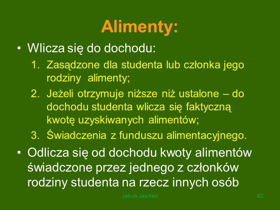 Alimenty: Wlicza się do dochodu: 1.Zasądzone dla studenta lub członka jego rodziny alimenty; 2.Jeżeli otrzymuje niższe niż ustalone – do dochodu stude