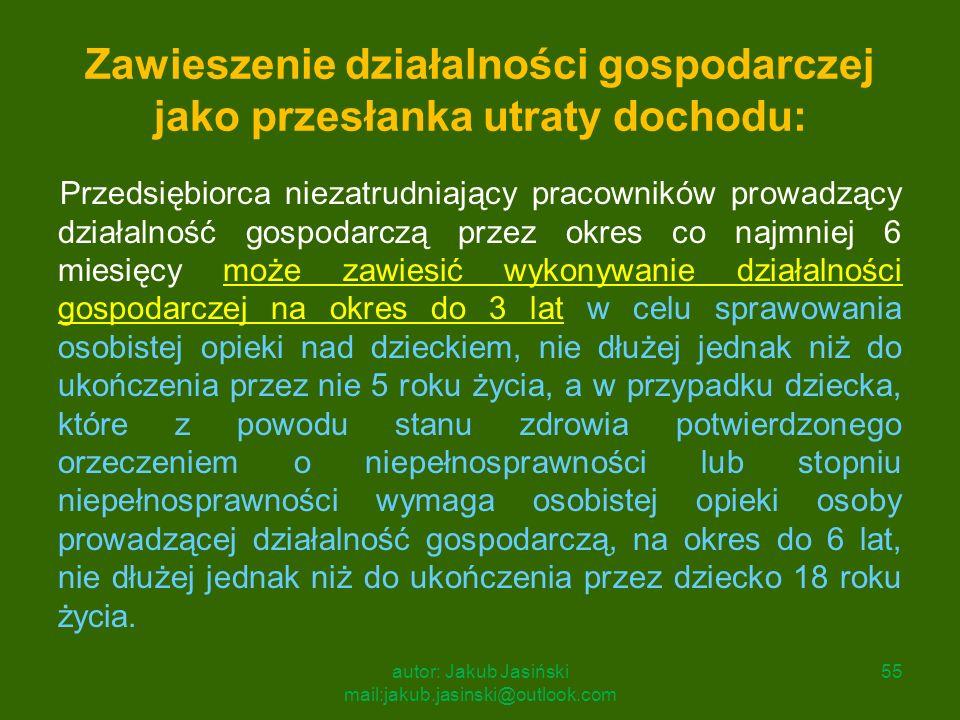 Zawieszenie działalności gospodarczej jako przesłanka utraty dochodu: Przedsiębiorca niezatrudniający pracowników prowadzący działalność gospodarczą p