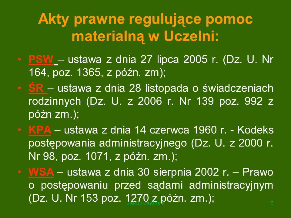 Akty prawne regulujące pomoc materialną w Uczelni: PSW – ustawa z dnia 27 lipca 2005 r. (Dz. U. Nr 164, poz. 1365, z późn. zm); ŚR – ustawa z dnia 28
