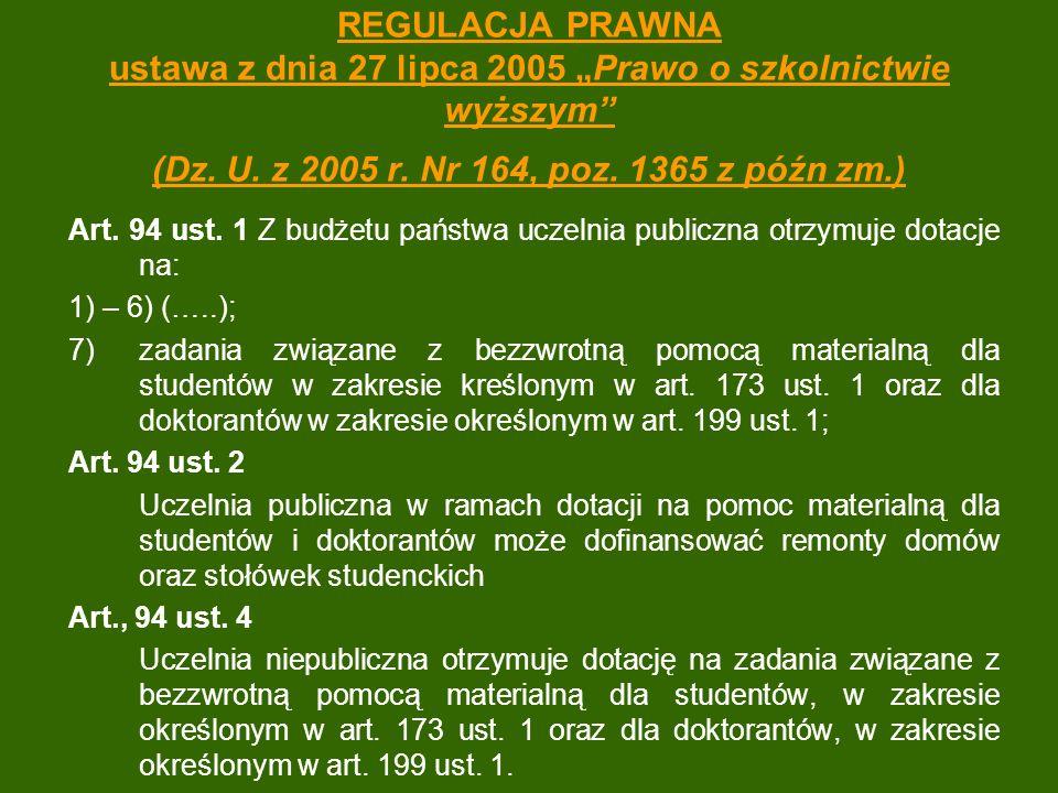 """REGULACJA PRAWNA ustawa z dnia 27 lipca 2005 """"Prawo o szkolnictwie wyższym"""" (Dz. U. z 2005 r. Nr 164, poz. 1365 z późn zm.) Art. 94 ust. 1 Z budżetu p"""