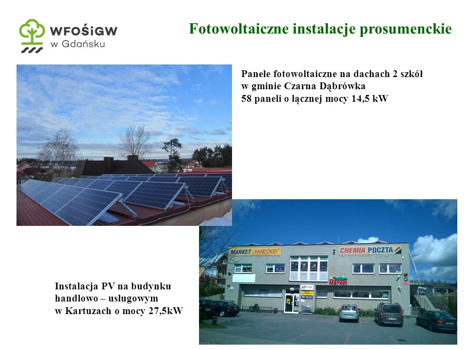 12 Fotowoltaiczne instalacje prosumenckie Panele fotowoltaiczne na dachach 2 szkół w gminie Czarna Dąbrówka 58 paneli o łącznej mocy 14,5 kW Instalacja PV na budynku handlowo – usługowym w Kartuzach o mocy 27,5kW
