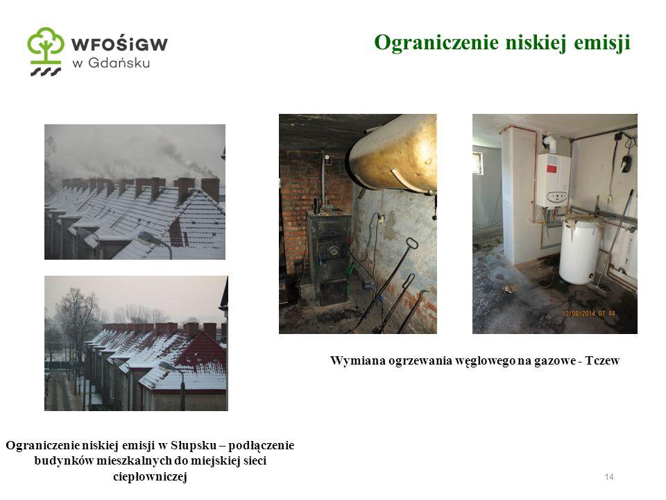 14 Ograniczenie niskiej emisji w Słupsku – podłączenie budynków mieszkalnych do miejskiej sieci ciepłowniczej Wymiana ogrzewania węglowego na gazowe - Tczew Ograniczenie niskiej emisji